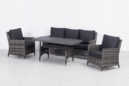 ***HERBST-AKTION***  XL Design Dining Lounge Set Mustique in Black Pearl, Sofa Garnitur
